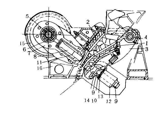 冲击颚式破碎机主要用于中硬和坚硬物料的破碎。其主要特点是:破碎腔为有不同倾角的倾斜空间,形成粗碎和细碎两个破碎腔,采用蝶形弹簧实现过载保护,运转速度高。 下面来介绍下冲击颚式破碎机的结构  冲击颚式破碎机结构图 1、动颚衬板 2、固定颚衬板 3、动颚 4、心轴 5、偏心轴 6、滚子轴承 7、连杆头和连杆 8、调节螺钉 9、调节楔块 10、保险弹簧 11、横梁 12、支承板 13、支承头 14、飞轮 15、机架 冲击颚式破碎机与其他破碎机相比,具有成本少,工作效率高等优点。冲击颚式破碎机一般选用的材质是高耐